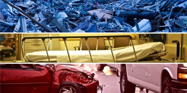 1) Escombros tras un desastre natural, 2) cama de hospital, 3) accidente de automóvil