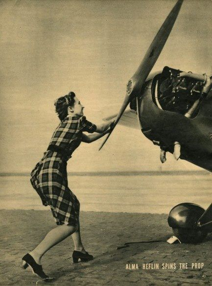 Alma Heflin, test pilot for the Piper Aircraft Corporation.(1940 copy of Click…