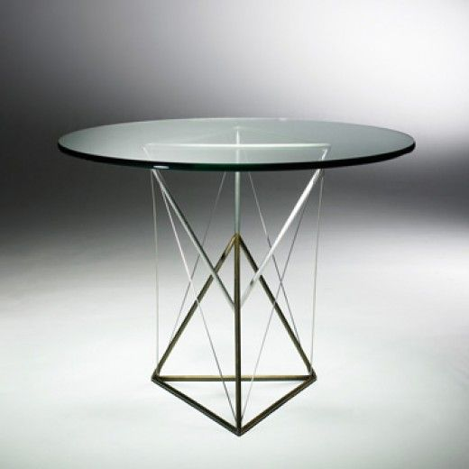 FORREST MYERS  Park Place table  USA , 1980 enameled steel, mirror-polished stainless steel, glass 38 dia x 29.5 h inches The creation of th...