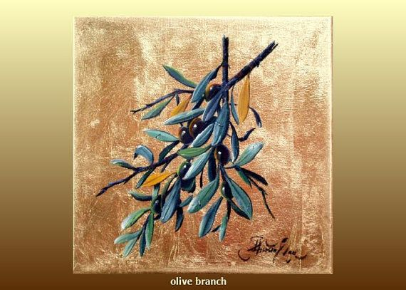 still life painting on canvas, olive branch 15.7x15,7in , 40x40cm