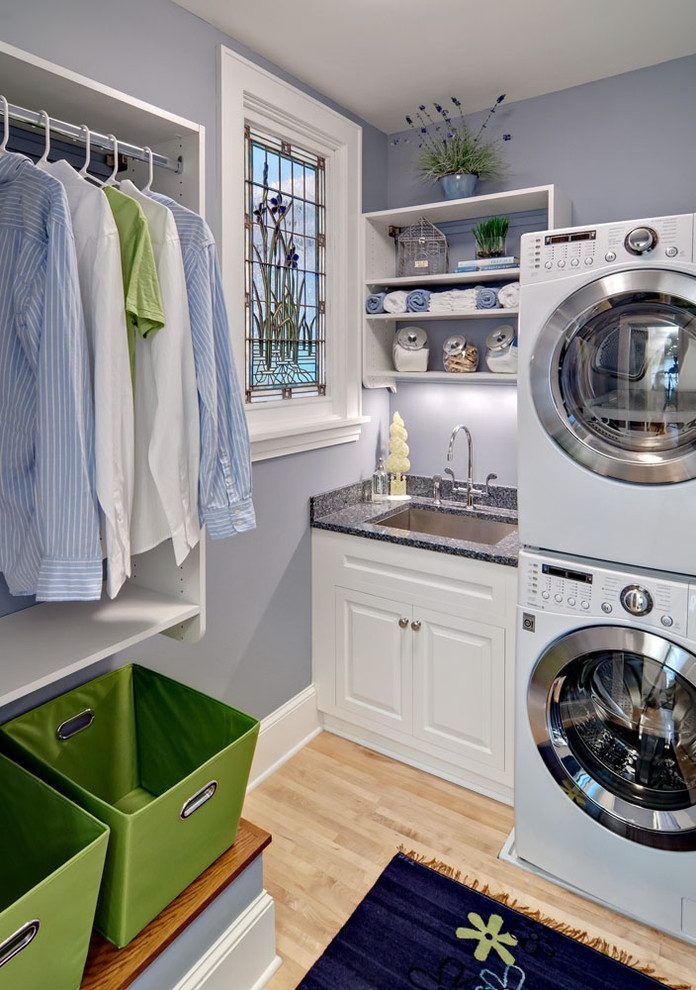 Small Laundry Room Stacked Washer Dryer Traditional With Soft Colors White Cabinets