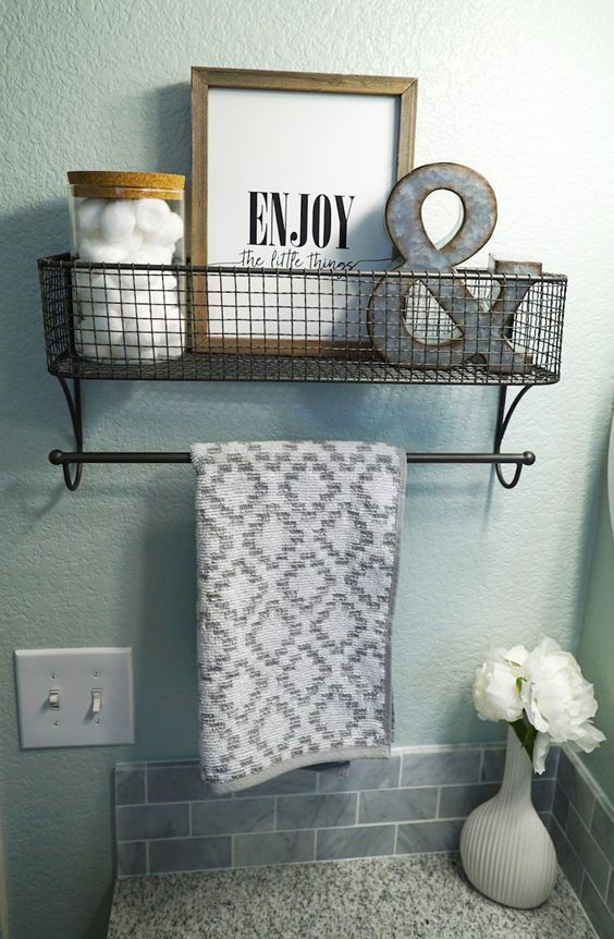 Guest Bathroom Makeover | Bathroom Decor | Sea Salt by Sherwin Williams | Grey Granite Countertop | White Grey Vanity | Quatrefoil Mirror | Hanging Shelf | Neutral Decor | Farmhouse Style | Clean Fresh Straight Lines | Before and After | Enjoy the Little Things | Hobby Lobby | Ampersand