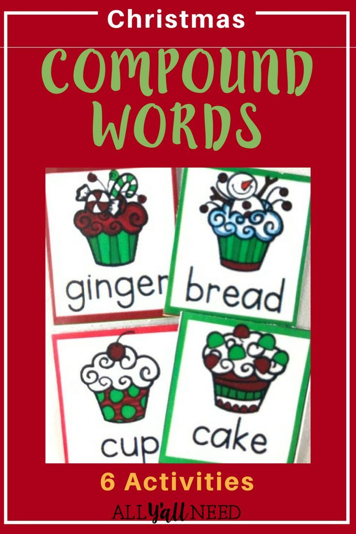 Compound word activities with a Christmas theme. Includes:Cupcake Compound Match Up, Circle the Compound Words, Compound ABC Order Activity, Compound Word Search,  Students pick their favorite compound word activity.|Christmas Activities|Language Arts|Elementary|Compound Words|#LanguageArts #Christmas #Elementary