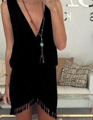 Solid Color Sexy V-neck Tassel Irregular Sleeveless Tank Dress Plus Size S-XL Sale