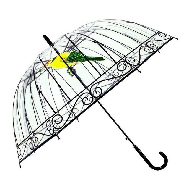 Jaula del Pájaro Creativo Sombrilla Paraguas transparente de mango Largo Paraguas 8 Costillas Soleado y Lluvioso Paraguas Mujeres Niñas Herramientas Al Aire Libre
