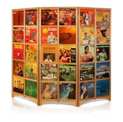 LP Room Divider, made with vintage albums. Would look right at Hinson a room with Upcycled record coasters, clocks, bookends...