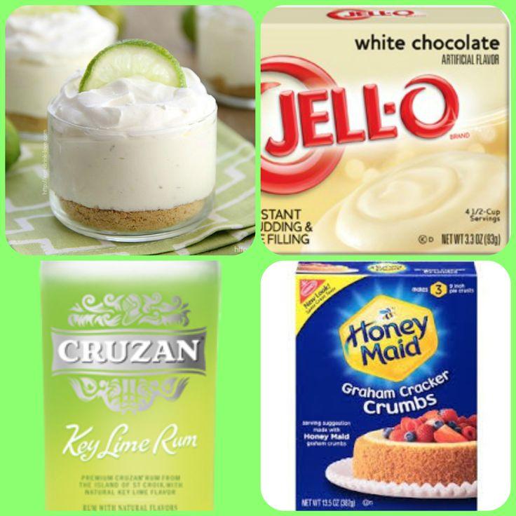 White Chocolate Key Lime Pie Pudding Shots  1 small Pkg. white chocolate instant pudding ¾ Cup Milk 3/4 Cup Key Lime Cruzan Rum graham cracker crumbs for garnish if desired 8oz tub Cool Whip  Directions 1. Whisk together the milk, liquor, and instant pudding mix in a bowl until combined. 2. Add cool whip a little at a time with whisk. 3. Spoon the pudding mixture into 1 or 2 ounce cups with lids. Garnish with graham cracker crumbs if desired and place in frezer