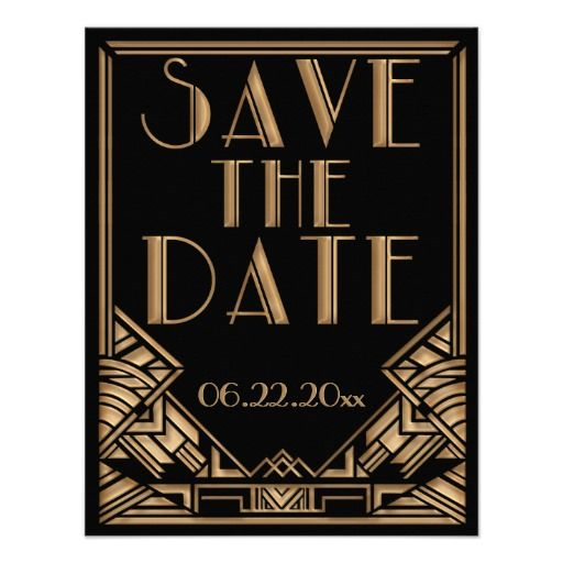 "A bold and elegant, vintage style wedding Save the Date announcement with a roaring twenties ""Great Gatsby"" theme in black and gold tones. A black background highlights the intricate geometric, Art Deco style border in golden beige tones. Decorative, period style fonts have been selected for your event wording."