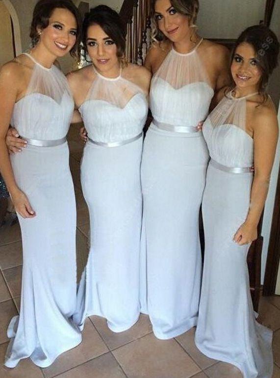 White Bridesmaid Dresses, White Bridesmaid Dresses Long, Long Bridesmaid Dresses, Long White dresses, White Long Dresses, Dresses On Sale, White Halter dresses, Zipper Bridesmaid Dresses, Belt/Sash/Ribbon Bridesmaid Dresses, Halter Bridesmaid Dresses, Sheath/Column Bridesmaid Dresses