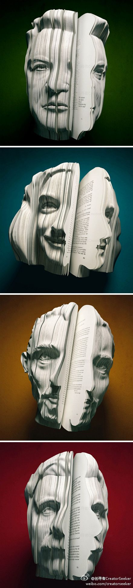 """Written Portraits"" -  Created by the artist Souverein for The Van Wantern Etcetera agency's advertising campaign - autobiographical books in the shape of the author's face (Louis Van Gaal, Anne Frank, Vincent Van Gogh and Kader Abdolah."