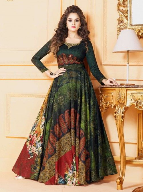 841ea916d2 Real magnificence comes out through the dressing style with readymade gown  style suit. The enticing multicolour digital printed work all through the  dress ...