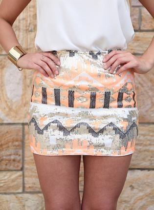 Multicolor Sequin Mini Skirt w/ Geometric Aztec Print,  Skirt, multicolor  aztec  chic  skirt  sequin, Bohemian (Boho) / Hippie