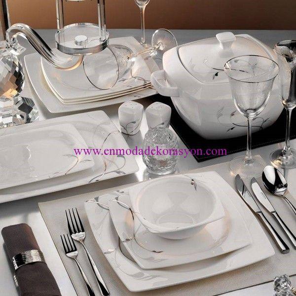 Kütahya Porselen Aliza Bone 83 Parça Desenli Yemek Takımı