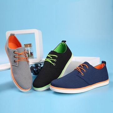 Men Flats Sneakers Fashion Canvas Comfortable Lace-Up Outdoor Casual Sport Shoes - US$24.85