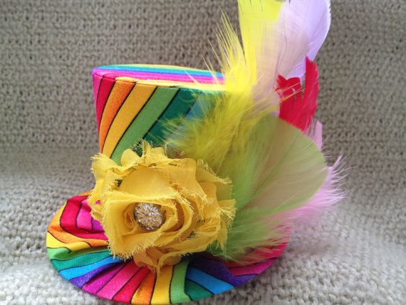 Fun Rainbow Mini Top Hat.  Great for Birthday by daisyleedesign