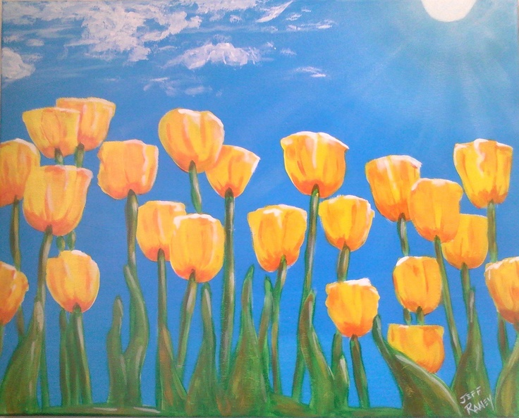 Tulips in the Springtime {{Wine and Canvas}} 1-3-13 class