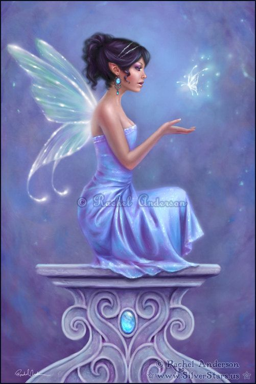 """Opalite fairy ~ Fairy and fantasy artwork by Rachel Anderson http://silverstars.us (^.^) Thanks, Pinterest Pinners, for stopping by, viewing, re-pinning, & following my boards. Have a beautiful day! ^..^ and """"Feel free to share on Pinterest ♡♥♡♥ #fairytales4kids #elfs #Fantasy #fairies"""