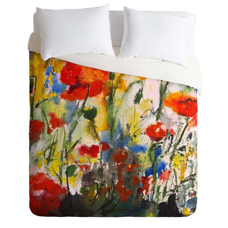 ginette fine art wildflowers poppies 1 duvet cover les. Black Bedroom Furniture Sets. Home Design Ideas