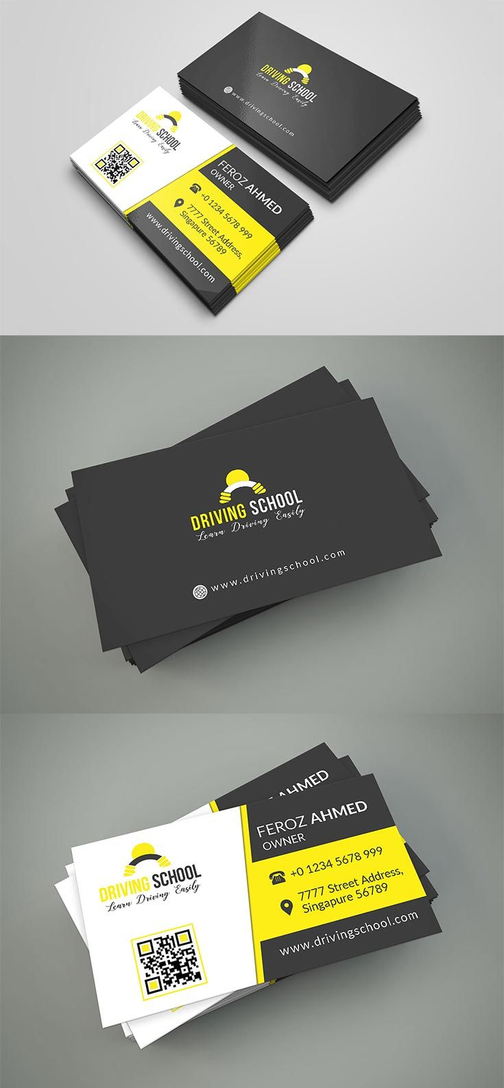 Free Driving School Business Card Psd Template Business Card Psd Driving School Business Card Design