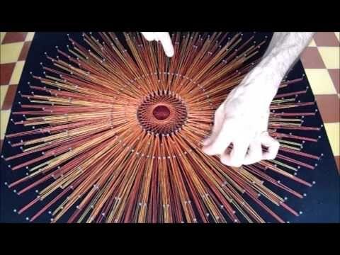 string art sol custodia cuadro con hilos tensados - YouTube