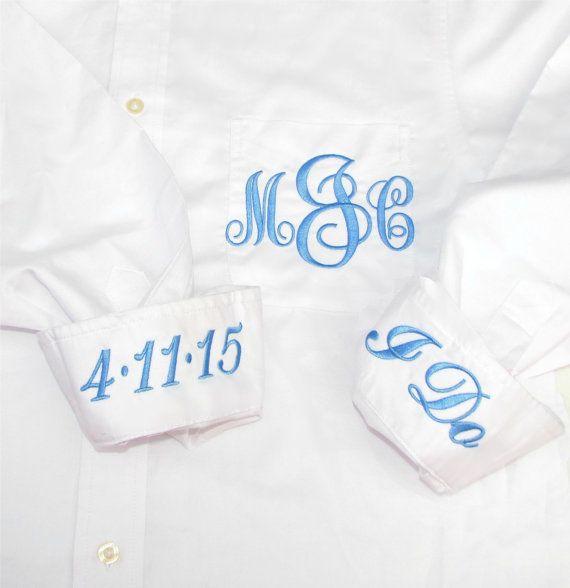 Bridal Party Shirt - Monogrammed Button Down Wedding Day Shirt