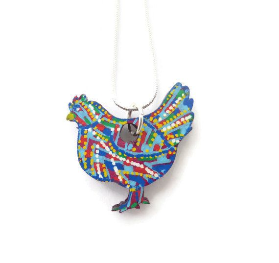 Chicken Pendant Necklace, Hand Painted Jewelry, Wearable Picture Art, Farm Animal Jewelry, Chicken Jewelry, Original Unique Handmade Jewelry