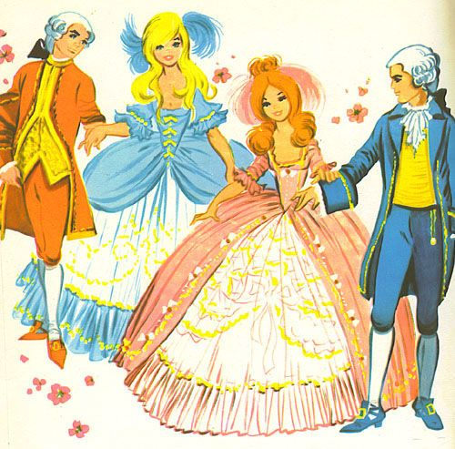 Illustration by Maria Pascual of Snow White and Rose Red and their Princes Charming.