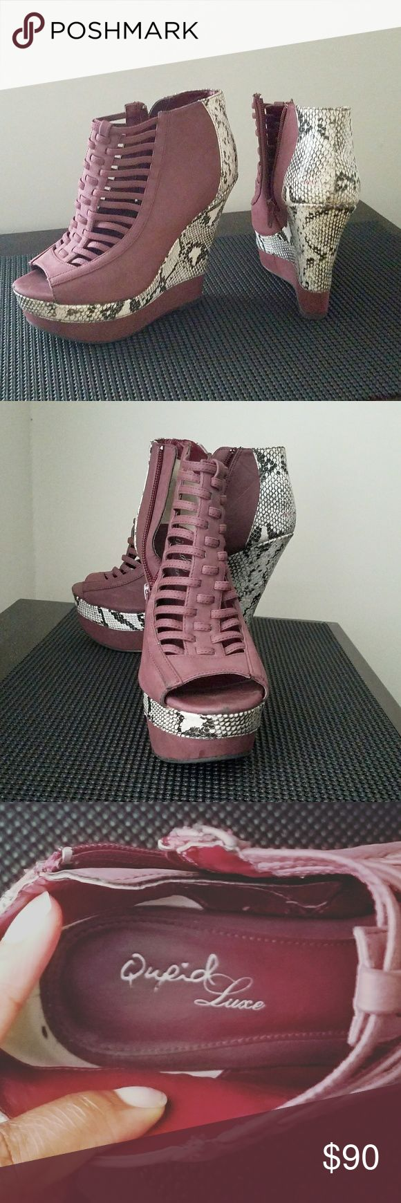 Qupid Luxe peep top gladiator platform booties. This are fierce 5 in heel with a 2 in open toe platform hits right at the ankle.   Mauve color made made leather with a faux black and white snake skin pattern would look cute with a little black dress (LBD).  Like new from the Qupid Luxe collection Qupid Shoes Platforms
