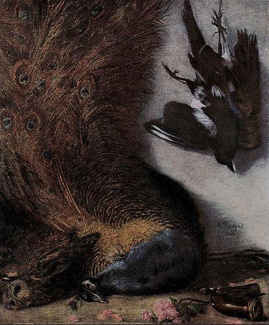 Karel Purkyně - Still/life with a peacock (1861) #realism #painting #art #Czechia
