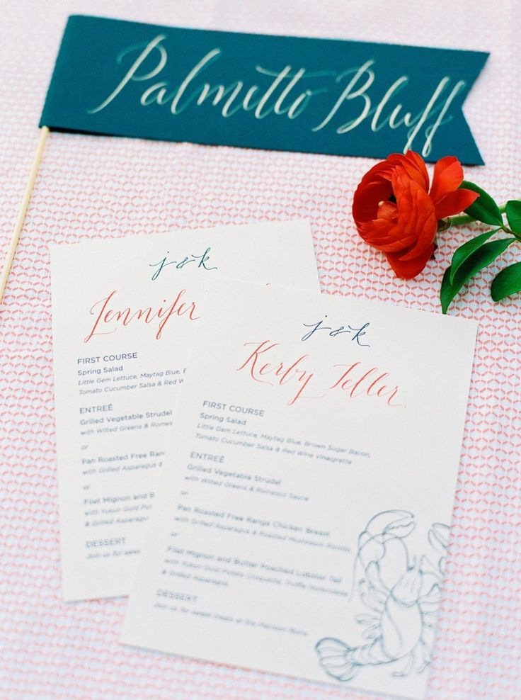 Calligraphy and Design by: Lowcountry Paper Co. | Wedding Reception Menus | Indigo Letterpress Menus | Calligraphy Menus | Calligraphy Place Cards with Coral Ink | Calligraphy Table Names