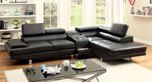 Furniture of America Kemina Bonded Leather Match Sectional Sofa with Built-In Surround Sound CM6833BK