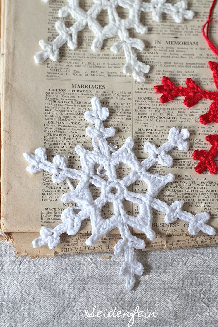 Anleitung Sternchen-Schneeflocke häkeln : Tutorial crocheting a star snowflake on : https://seidenfein.blogspot.de/2017/12/13-schneeflocken-hakeln-to-crochet.html