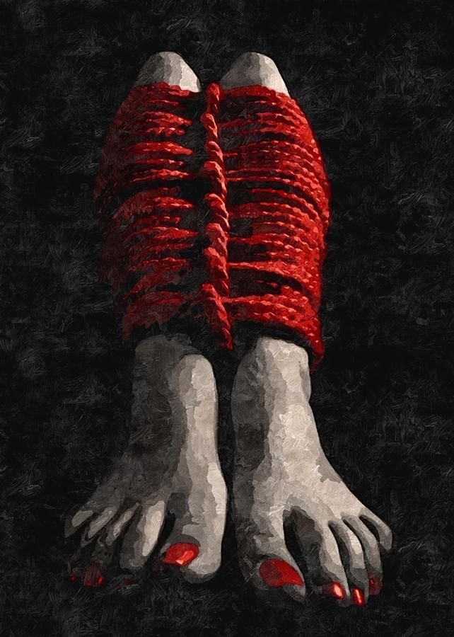 Red Ropes - Arty Bdsm, Bondage Play, Feets Fetish Painting by BDSM Love    #sexy #erotic #posters #poster #art #print #artprint #decor #homedecor #bdsm #fetish #slave #bondage