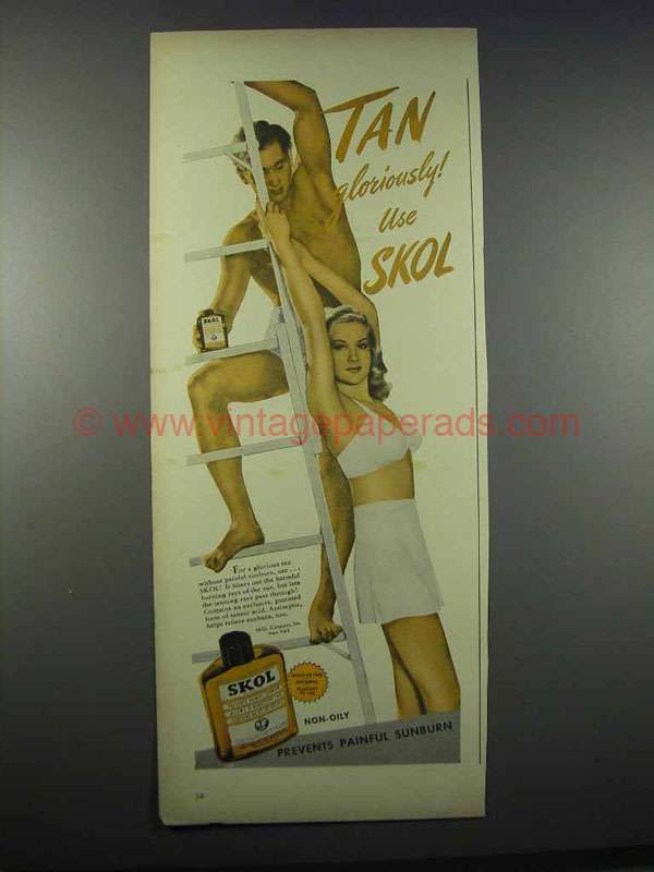 1944 Skol Sun Tan Lotion Ad - Tan Gloriously