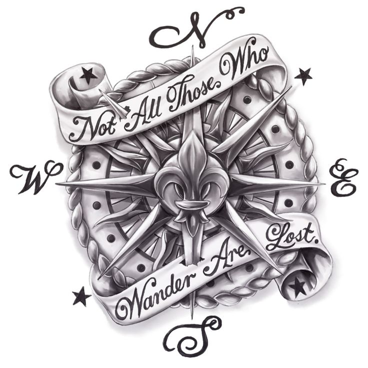 Vintage Compass with Banner (Ankle Tattoo Design) | Cris Luspo Tattoo Designs