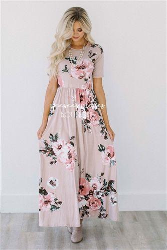 Mauve Painted Floral Maxi Dress