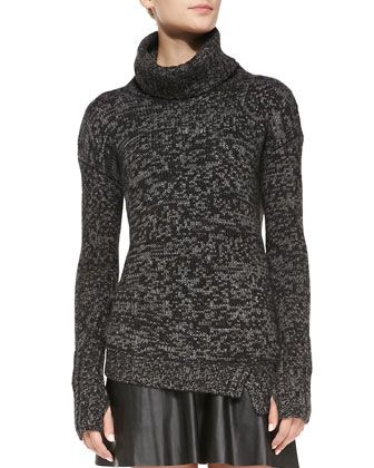 Asymmetric Knit Turtleneck Sweater by Pam & Gela at Neiman Marcus.
