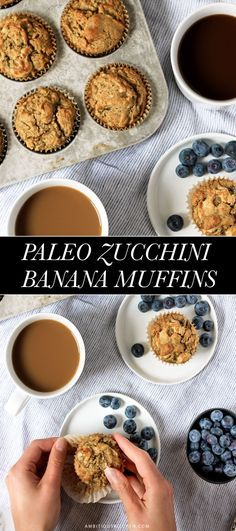 Scrumptious paleo banana zucchini muffins made with coconut flour and cashew butter (can also use almond or sunflower butter). 5g protein per muffin! /explore/paleo/ /explore/glutenfree/