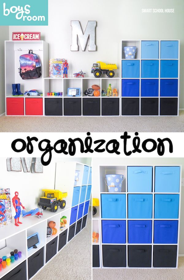 Boys Room Organization Ideas. Organize toys, school supplies, and even clothing. I love the blue ombre fabric boxes!