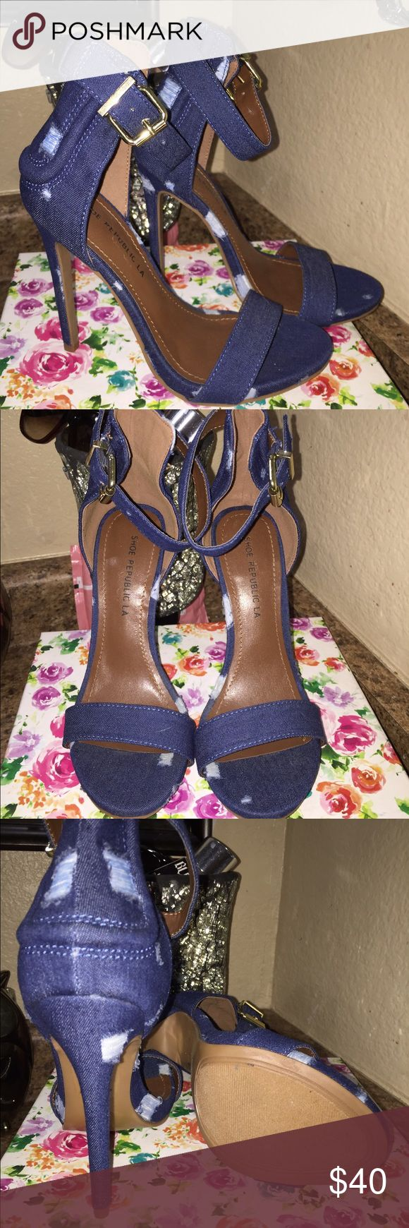 Denim heels Brand new denim heels size 5.5 with gold buckle heel size 5 inches price is firm! Shoe republic L.A. Shoes Heels