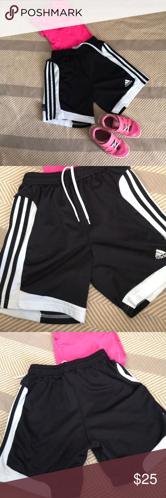 Adidas Adjustable Soccer Shorts Perfect exercise shorts for your little one whether for soccer, basketball, or just playing outside !!  🖤🖤  Size: S  All items come from a smoke free home and include lavender sheets when shipped ! All items are shipped within 48 hrs or less (not including weekends) Any questions feel free to ask  😘😉 Happy shopping 😘😉 adidas Bottoms Shorts