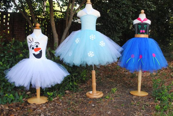 Frozen Inspired Tutu Ana Elsa Olaf Inspired Tutu Costume Dress for Dress Up or Halloween or Birthday Dress