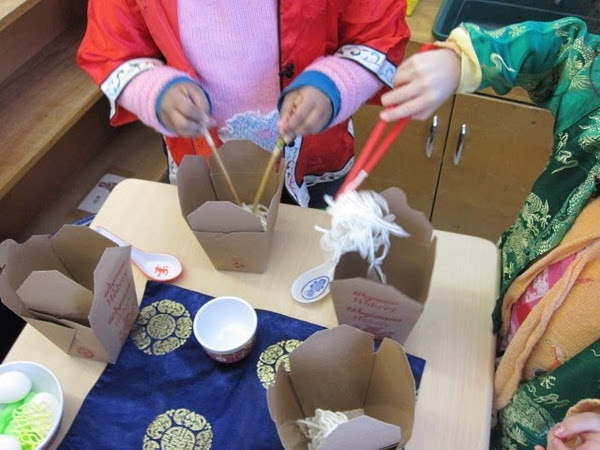 Chinese New Year - boxes(template online), chopsticks, fortune cookie(temple online), yarn for noodles