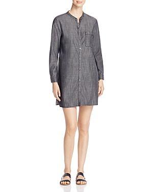 Eileen Fisher Mandarin Collar Chambray Shirt Dress