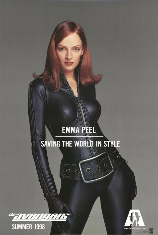 The Avengers.  1998.  Not the 2012 one.  This is the one that sucks.  This poster of Uma is its one saving grace.  Oddly enough, wearing about the same outfit as Scarlet Johanssen in the 2012 movie.