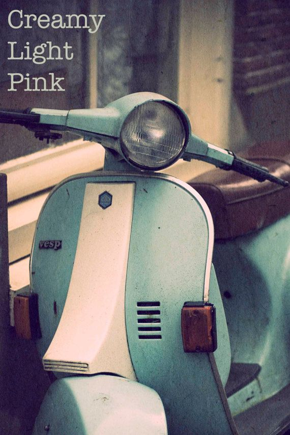 Turquoise vespa scooter, vintage style photograph available in my etsy shop #creamylightpink  #vintagephotograph #fineart #wallart #affordableart #teal #turquoise #vespascooter #vintage