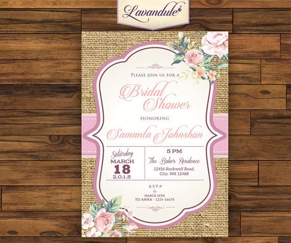 Bridal Shower Rustic Texture Pink Floral by Lavandule on Etsy