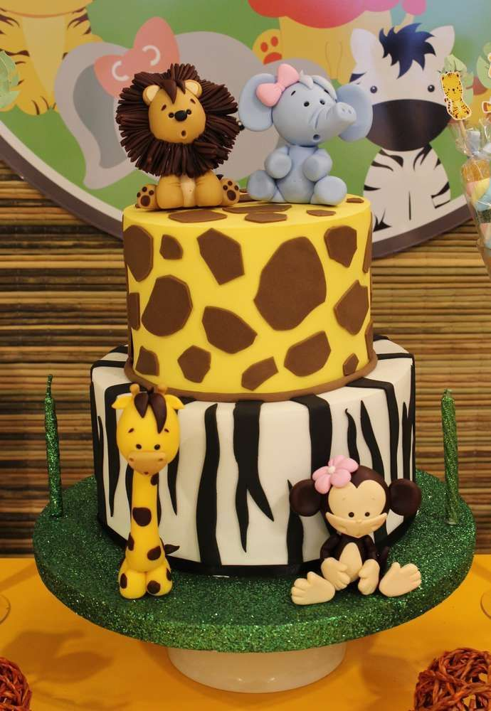 Prime Jungle Theme Birthday Party Cake In 2020 Safari Birthday Cakes Funny Birthday Cards Online Chimdamsfinfo