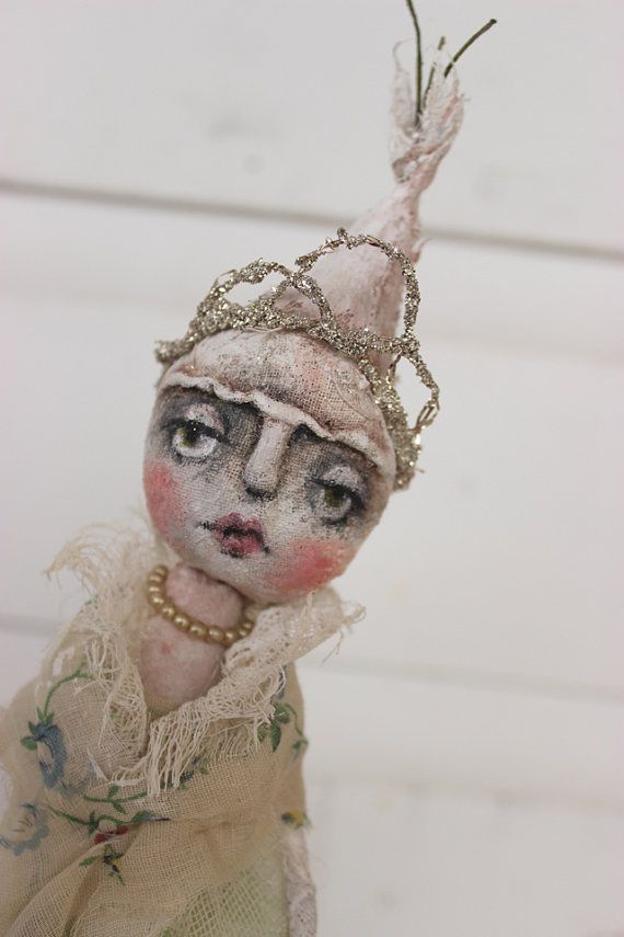 art doll pearl onion princess christmas tree topper shabby fiber textile cloth ooak folk primitive k d milstein fadedwest