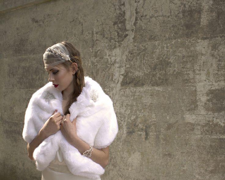 Bridal faux fur jacket by Blanche in the Brambles. Headdress Hermione Harbutt Fitzgerald